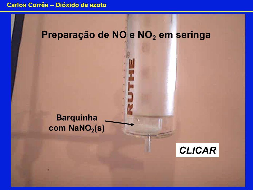 Carlos Corrêa – Dióxido de azoto CLICAR Barquinha com NaNO 2 (s) Preparação de NO e NO 2 em seringa
