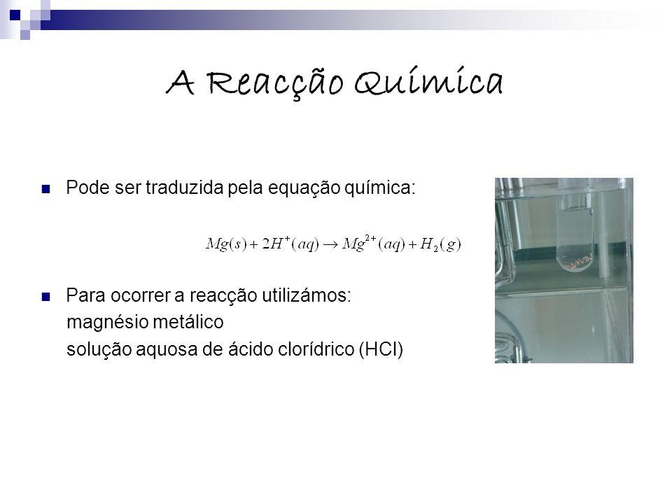 A Reacção Química Pode ser traduzida pela equação química: Para ocorrer a reacção utilizámos: magnésio metálico solução aquosa de ácido clorídrico (HC