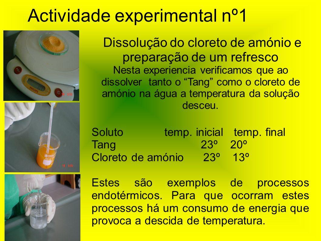 Actividade experimental nº1 Dissolução do cloreto de amónio e preparação de um refresco Nesta experiencia verificamos que ao dissolver tanto o Tang co