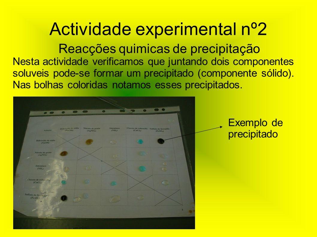 Actividade experimental nº2 Reacções quimicas de precipitação Nesta actividade verificamos que juntando dois componentes soluveis pode-se formar um pr