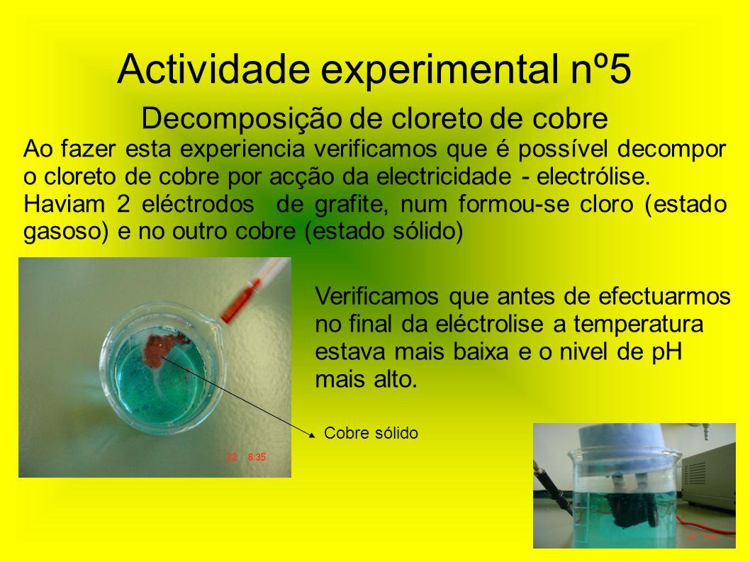 Actividade experimental nº5 Decomposição de cloreto de cobre Ao fazer esta experiencia verificamos que é possível decompor o cloreto de cobre por acçã