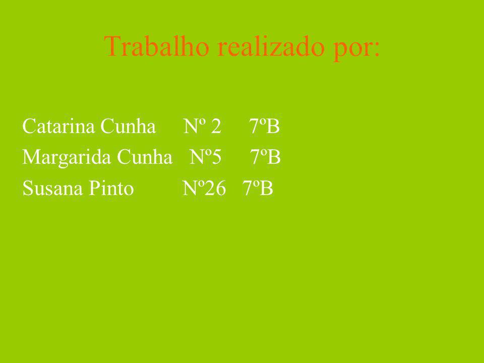 Trabalho realizado por: Catarina Cunha Nº 2 7ºB Margarida Cunha Nº5 7ºB Susana Pinto Nº26 7ºB