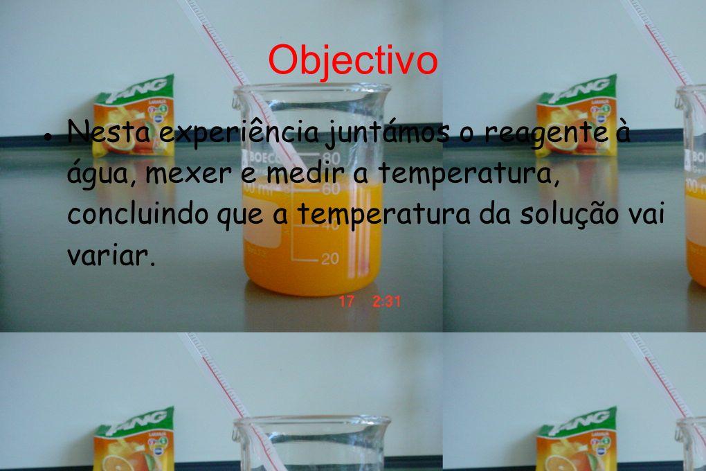 Tang Ao dissolver o tang na água a temperatura não varia muito Temperatura inicial da água-23ºC Temperatura final - 22ºC