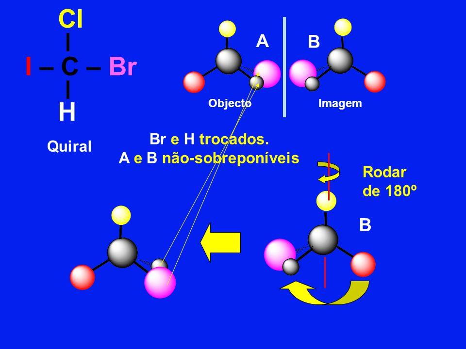 I – C – Br Quiral ObjectoImagem Cl H Rodar de 180º Br e H trocados. A e B não-sobreponíveis A B B