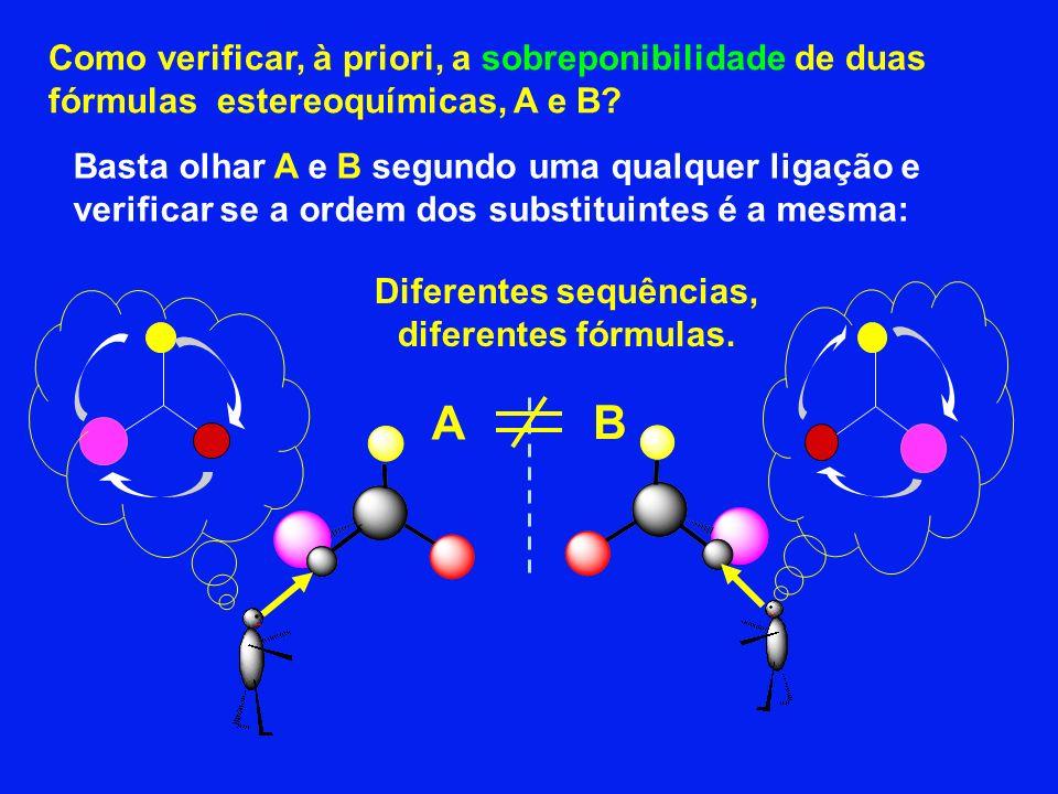 Como verificar, à priori, a sobreponibilidade de duas fórmulas estereoquímicas, A e B? A B Basta olhar A e B segundo uma qualquer ligação e verificar