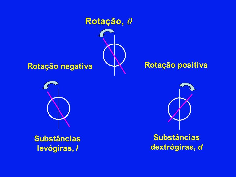 Rotação negativa Rotação positiva Rotação, Substâncias levógiras, l Substâncias dextrógiras, d