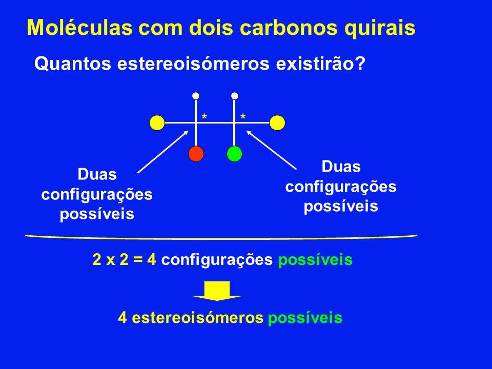 Moléculas com dois carbonos quirais Quantos estereoisómeros existirão? ** Duas configurações possíveis Duas configurações possíveis 2 x 2 = 4 configur
