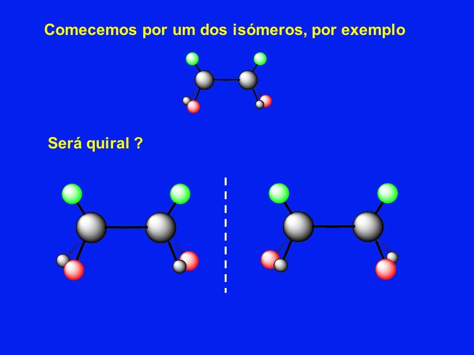 Comecemos por um dos isómeros, por exemplo Será quiral ?