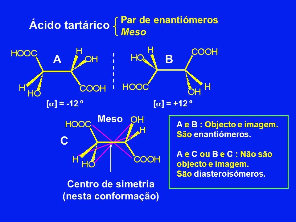 Ácido tartárico Par de enantiómeros Meso Centro de simetria (nesta conformação) [ ] = +12 º[ ] = -12 º Meso C BA A e B : Objecto e imagem. São enantió