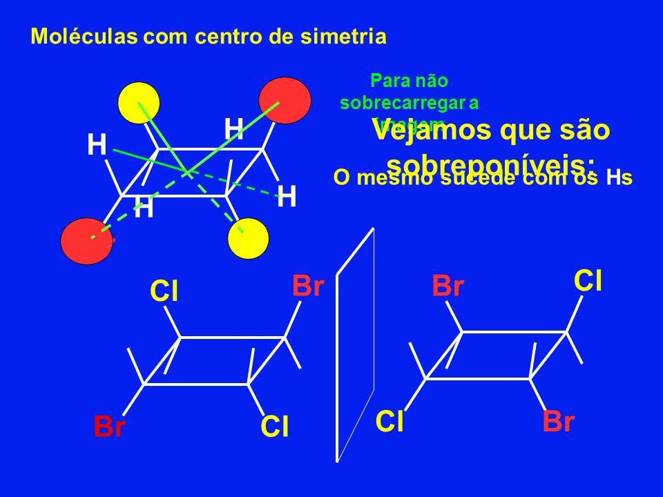 Moléculas com centro de simetria Br Cl H Br H H H O mesmo sucede com os Hs Br Cl BrCl Br ClBr Para não sobrecarregar a imagem Vejamos que são sobrepon