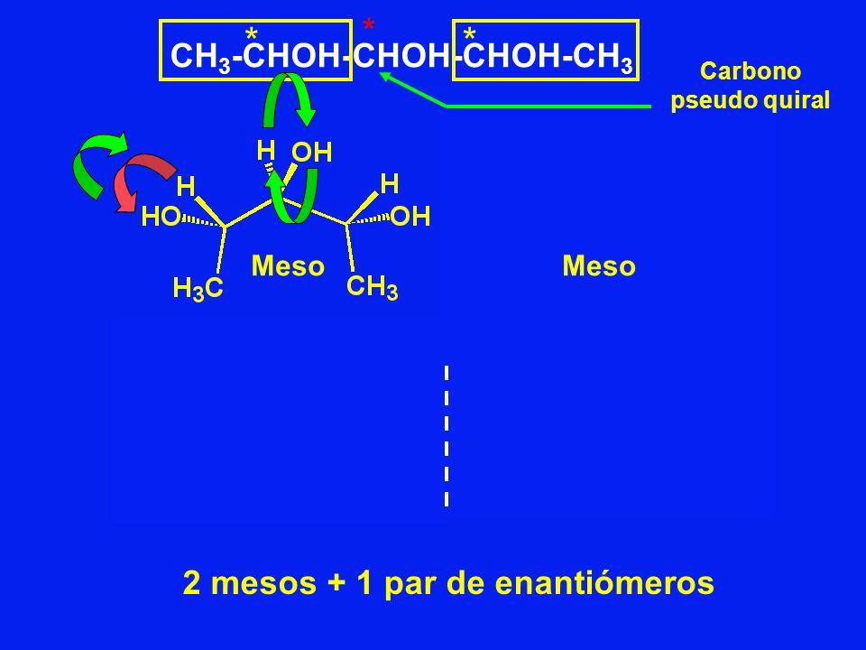 CH 3 -CHOH-CHOH-CHOH-CH 3 ** * Meso 2 mesos + 1 par de enantiómeros Carbono pseudo quiral