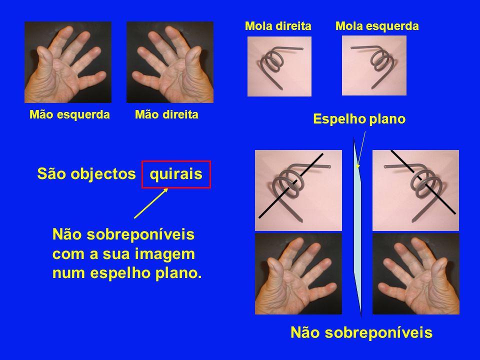 Mão esquerdaMão direita Não sobreponíveis São objectos quirais Espelho plano Não sobreponíveis com a sua imagem num espelho plano. Mola esquerdaMola d