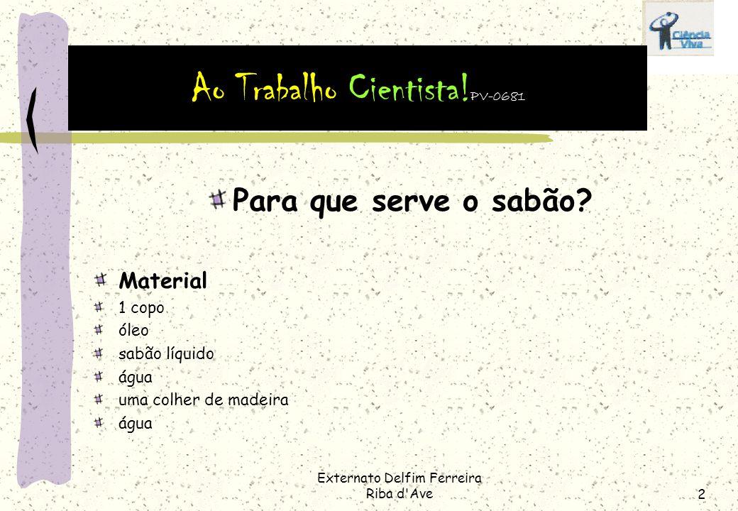 Externato Delfim Ferreira Riba d'Ave1 Para que serve o sabão? Para a mesa! Vamos lavar as mãos. Se um pouco de água chega para retirar a poeira, o sab