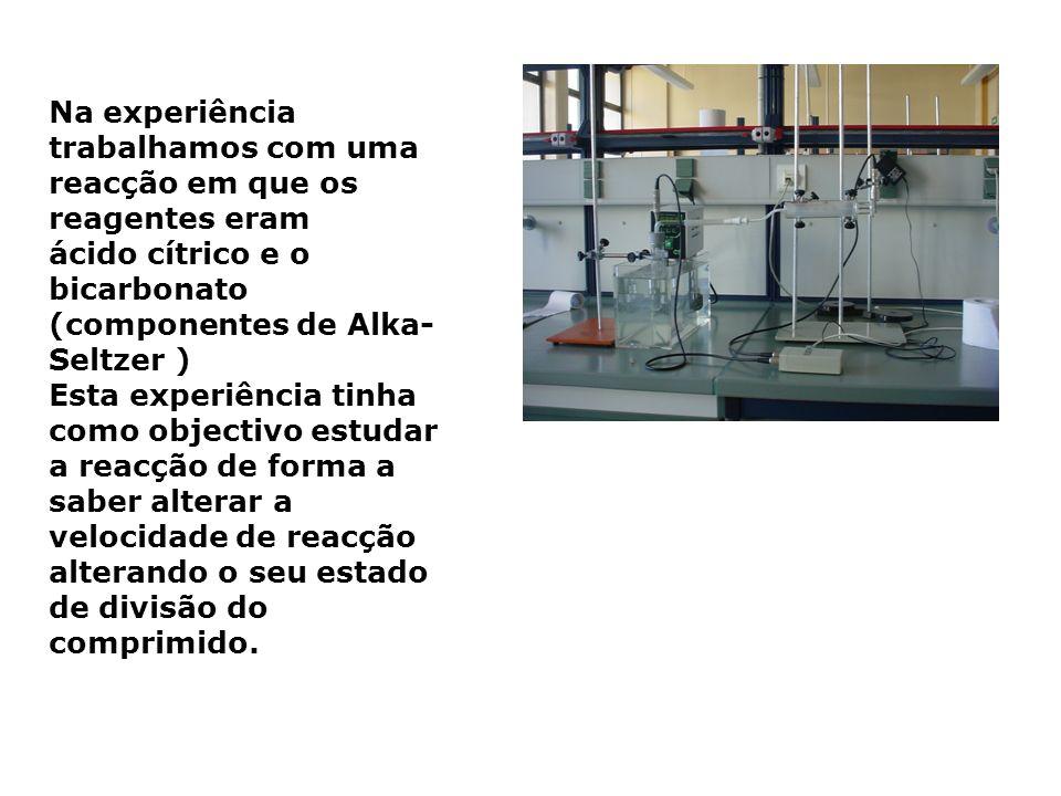 Na experiência trabalhamos com uma reacção em que os reagentes eram ácido cítrico e o bicarbonato (componentes de Alka- Seltzer ) Esta experiência tin