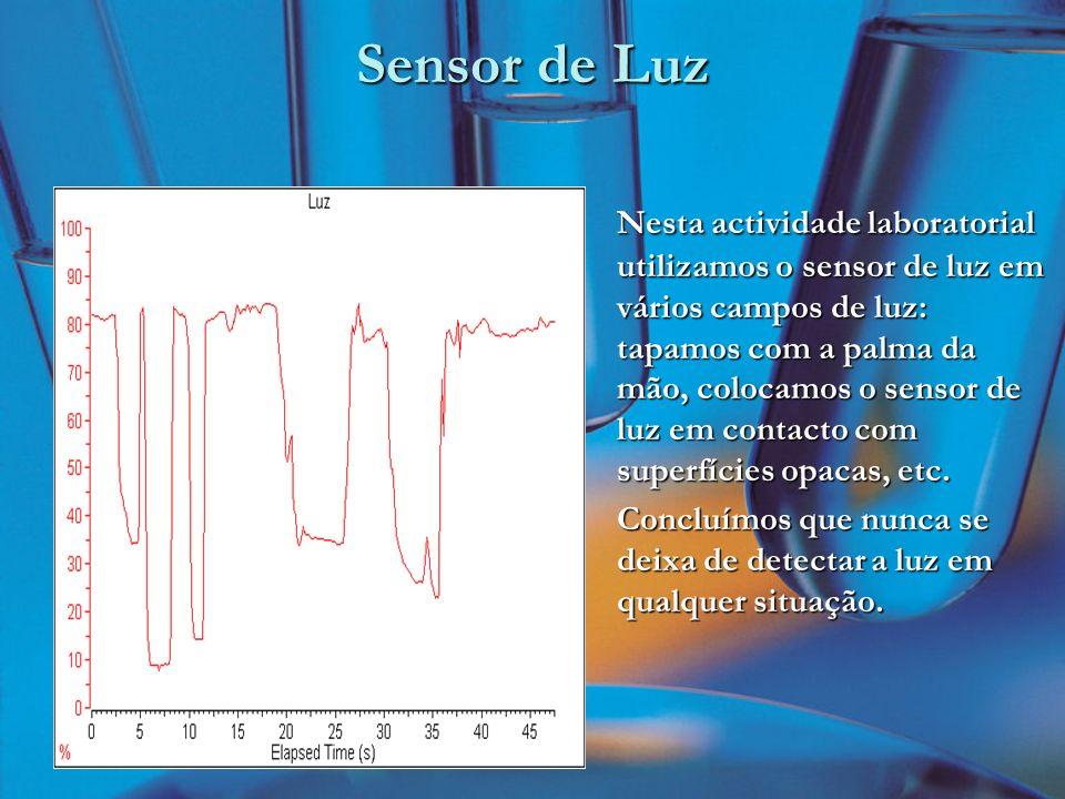 Sensor de Luz Nesta actividade laboratorial utilizamos o sensor de luz em vários campos de luz: tapamos com a palma da mão, colocamos o sensor de luz em contacto com superfícies opacas, etc.
