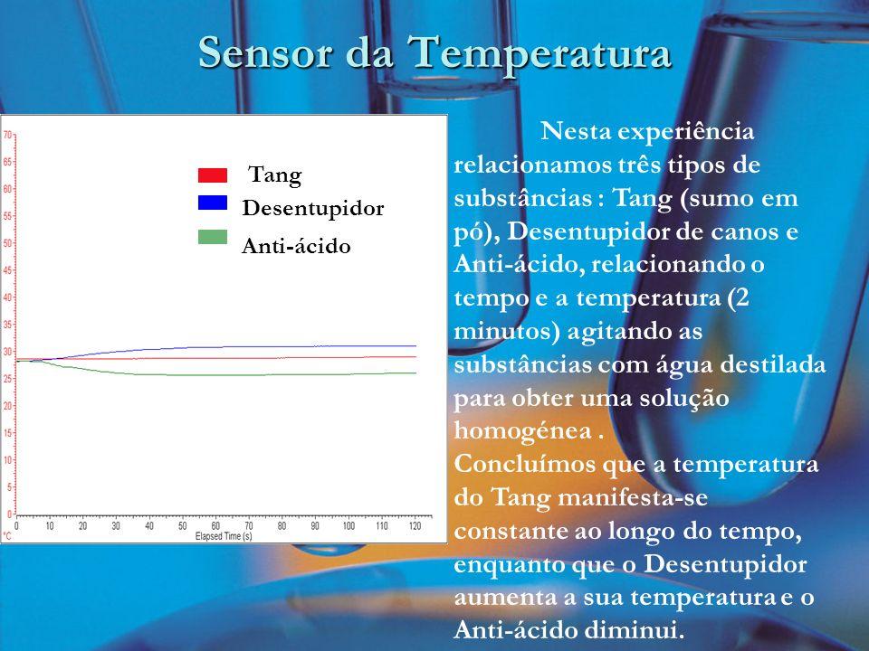 Sensor da Temperatura Nesta experiência relacionamos três tipos de substâncias : Tang (sumo em pó), Desentupidor de canos e Anti-ácido, relacionando o