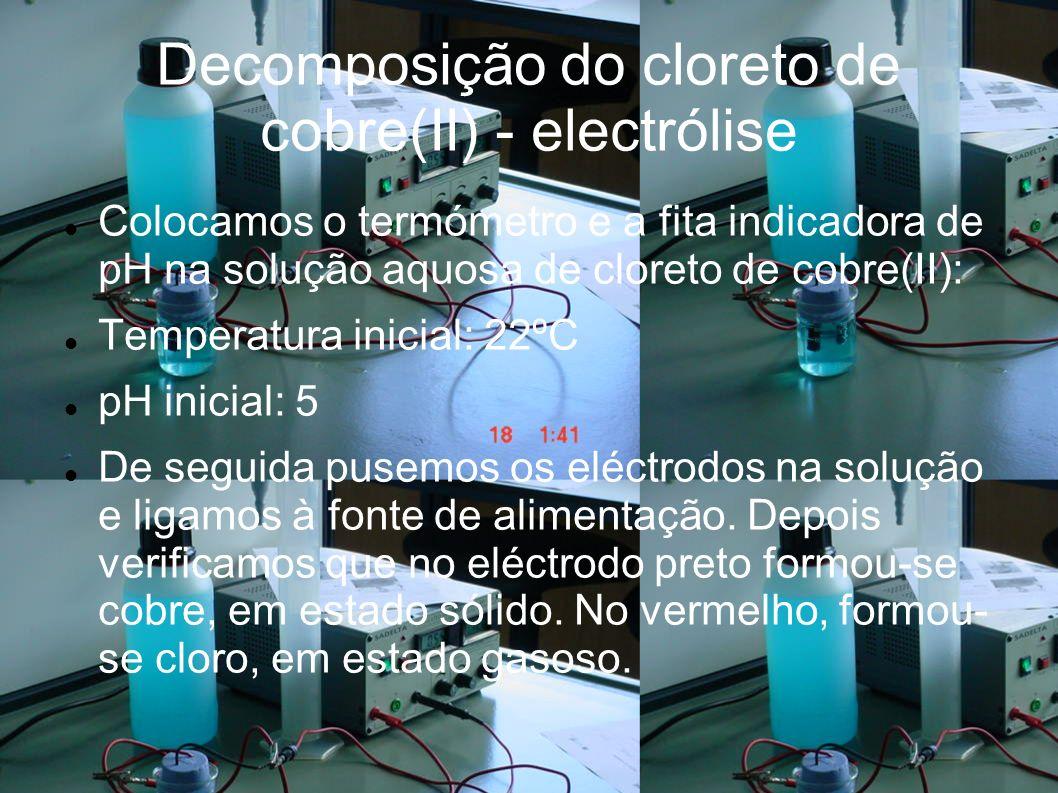 Decomposição do cloreto de cobre(II) - electrólise Colocamos o termómetro e a fita indicadora de pH na solução aquosa de cloreto de cobre(II): Temperatura inicial: 22ºC pH inicial: 5 De seguida pusemos os eléctrodos na solução e ligamos à fonte de alimentação.