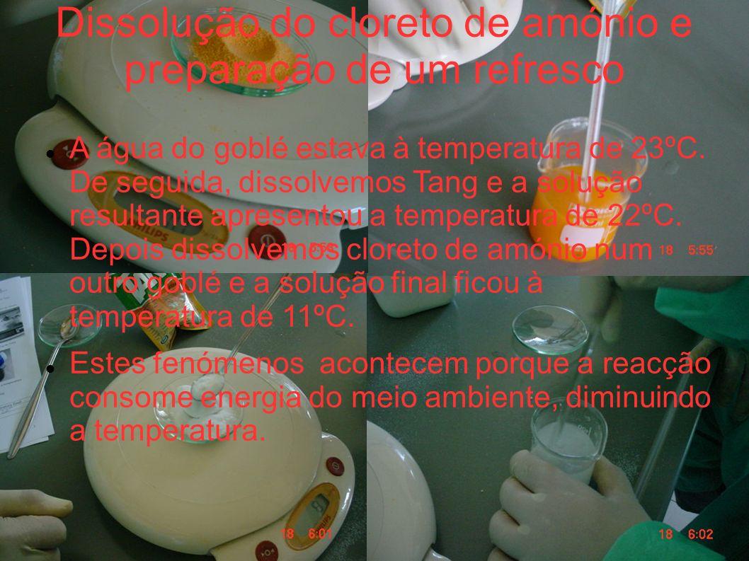 Dissolução do cloreto de amónio e preparação de um refresco A água do goblé estava à temperatura de 23ºC. De seguida, dissolvemos Tang e a solução res