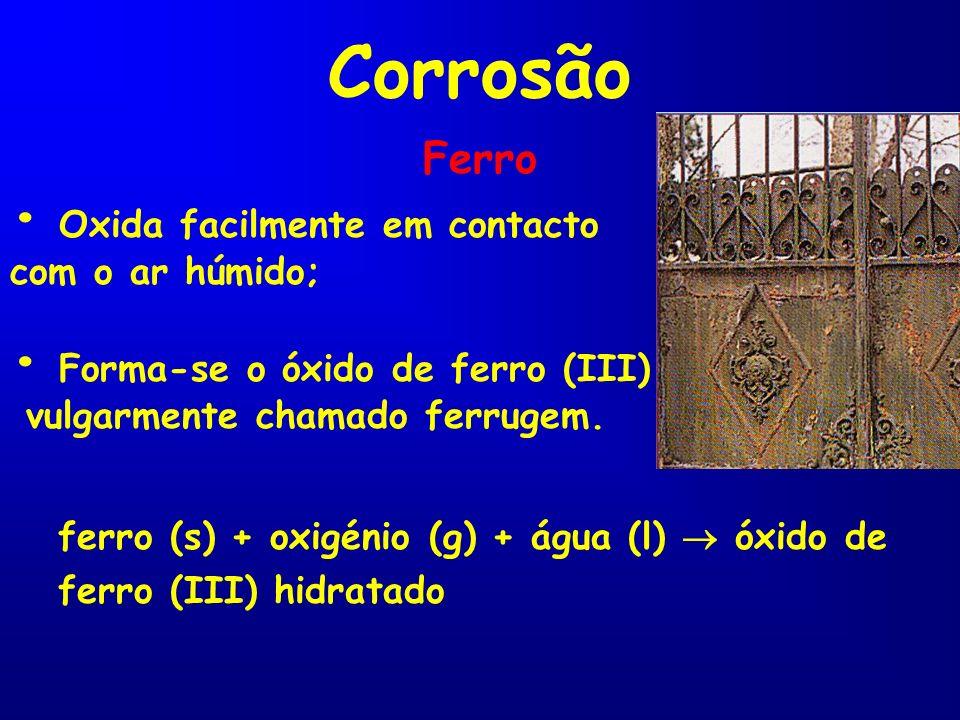 Corrosão Ferro Oxida facilmente em contacto com o ar húmido; Forma-se o óxido de ferro (III) vulgarmente chamado ferrugem. ferro (s) + oxigénio (g) +