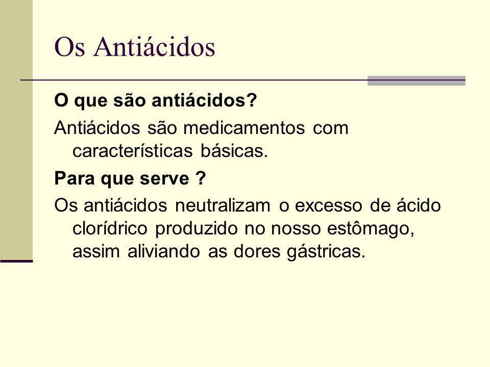 Os Antiácidos O que são antiácidos? Antiácidos são medicamentos com características básicas. Para que serve ? Os antiácidos neutralizam o excesso de á