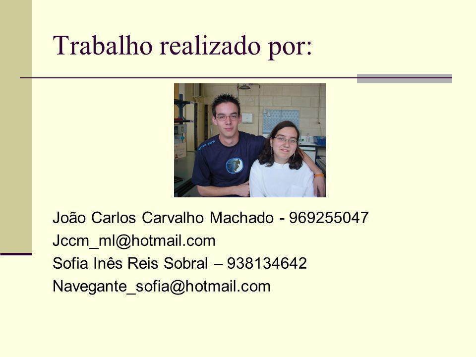 Trabalho realizado por: João Carlos Carvalho Machado - 969255047 Jccm_ml@hotmail.com Sofia Inês Reis Sobral – 938134642 Navegante_sofia@hotmail.com