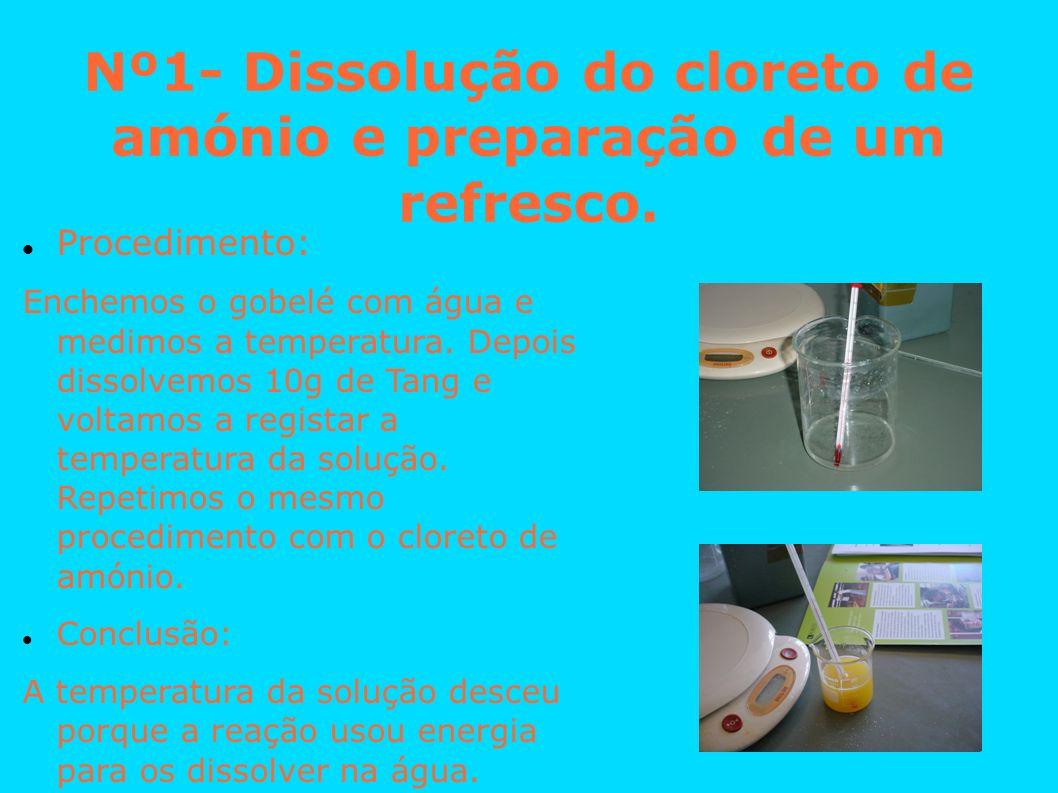 Nº1- Dissolução do cloreto de amónio e preparação de um refresco. Procedimento: Enchemos o gobelé com água e medimos a temperatura. Depois dissolvemos