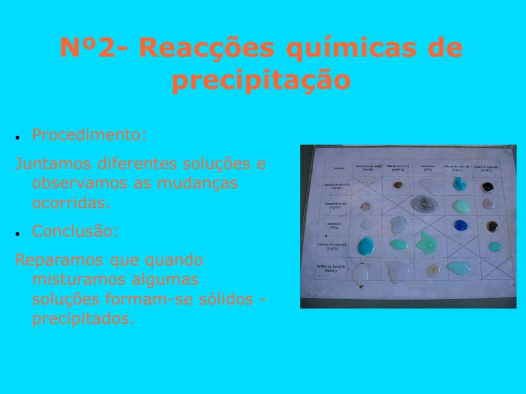 Nº2- Reacções químicas de precipitação Procedimento: Juntamos diferentes soluções e observamos as mudanças ocorridas. Conclusão: Reparamos que quando