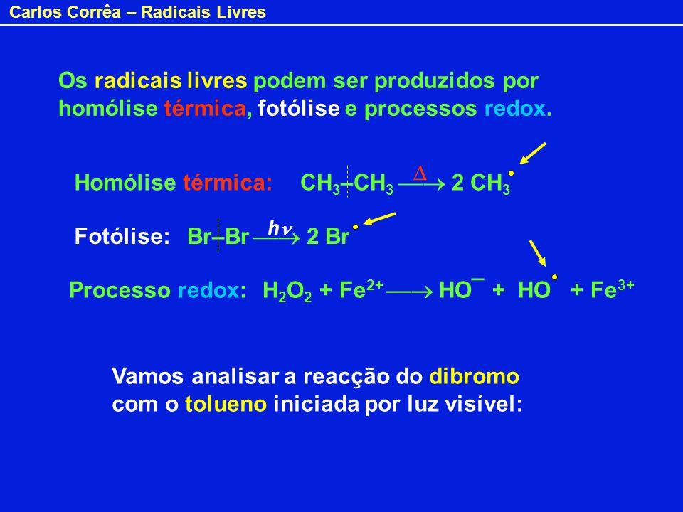 Carlos Corrêa – Radicais Livres Os radicais livres podem ser produzidos por homólise térmica, fotólise e processos redox. CH 3 –CH 3 2 CH 3 Br–Br 2 Br