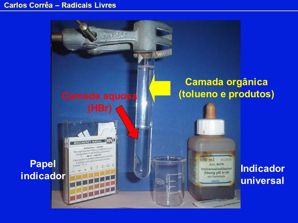 Carlos Corrêa – Radicais Livres Indicador universal Papel indicador Camada orgânica (tolueno e produtos) Camada aquosa (HBr)