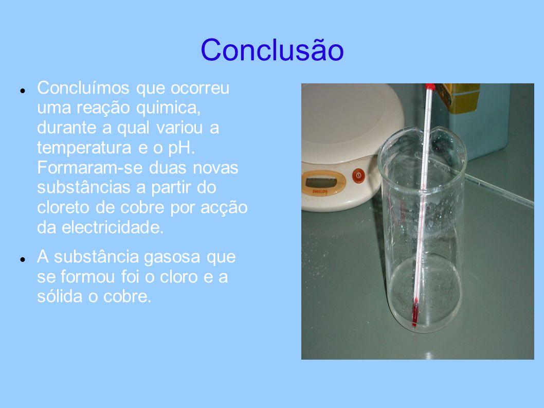 Conclusão Concluímos que ocorreu uma reação quimica, durante a qual variou a temperatura e o pH.