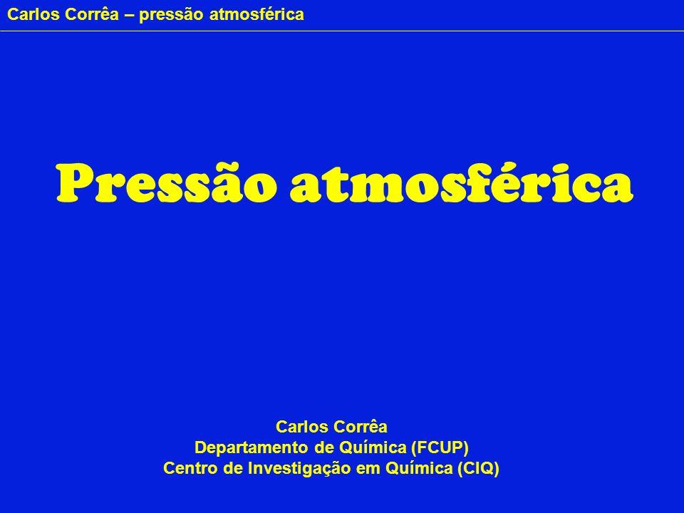 Carlos Corrêa – pressão atmosférica Ar P = Peso = Força S P Pressão = Força (P) Área (S) Terra Atmosfera Coluna de ar