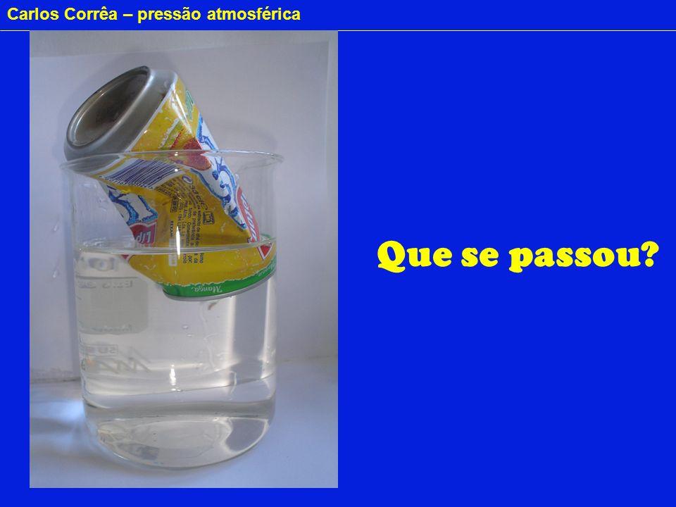 Carlos Corrêa – pressão atmosférica CALOR Água O vapor condensa Pressão atmosférica Pressão atmosférica Pressão atmosférica Água fria Voltando a lata......