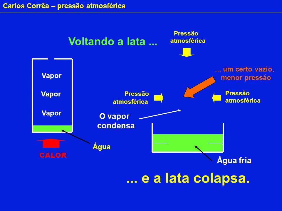 Carlos Corrêa – pressão atmosférica CALOR Água O vapor condensa Pressão atmosférica Pressão atmosférica Pressão atmosférica Água fria Voltando a lata.