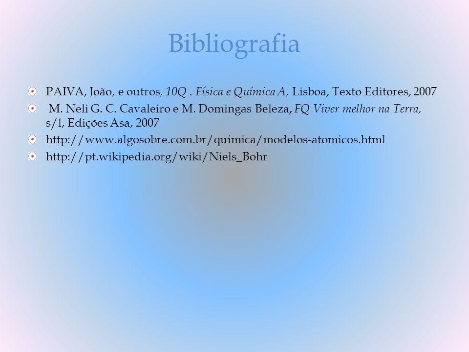 Bibliografia PAIVA, João, e outros, 10Q. Física e Química A, Lisboa, Texto Editores, 2007 M. Neli G. C. Cavaleiro e M. Domingas Beleza, FQ Viver melho