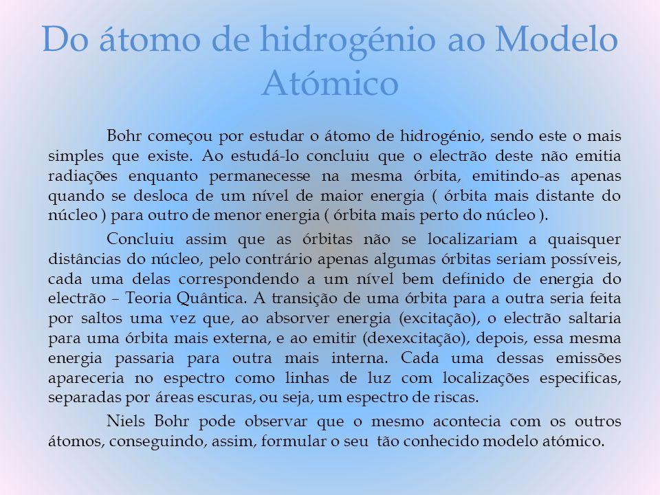 Do átomo de hidrogénio ao Modelo Atómico Bohr começou por estudar o átomo de hidrogénio, sendo este o mais simples que existe. Ao estudá-lo concluiu q