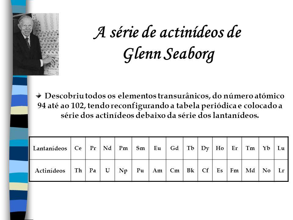 A série de actinídeos de Glenn Seaborg Descobriu todos os elementos transurânicos, do número atómico 94 até ao 102, tendo reconfigurando a tabela peri