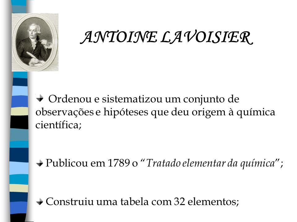 ANTOINE LAVOISIER Ordenou e sistematizou um conjunto de observações e hipóteses que deu origem à química científica; Publicou em 1789 o Tratado elemen