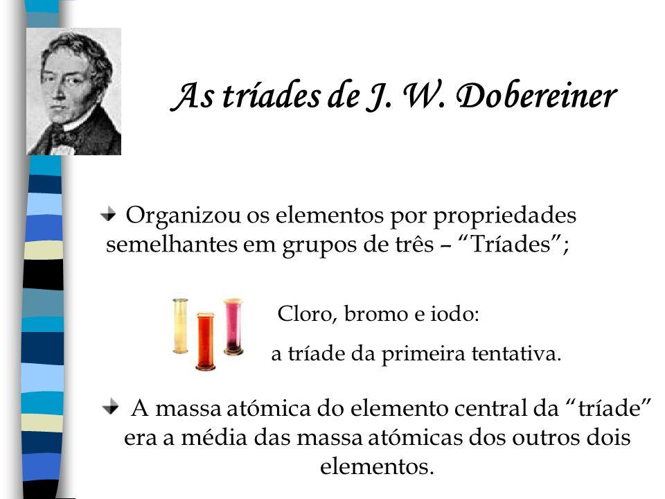 As tríades de J. W. Dobereiner Organizou os elementos por propriedades semelhantes em grupos de três – Tríades; Cloro, bromo e iodo: a tríade da prime