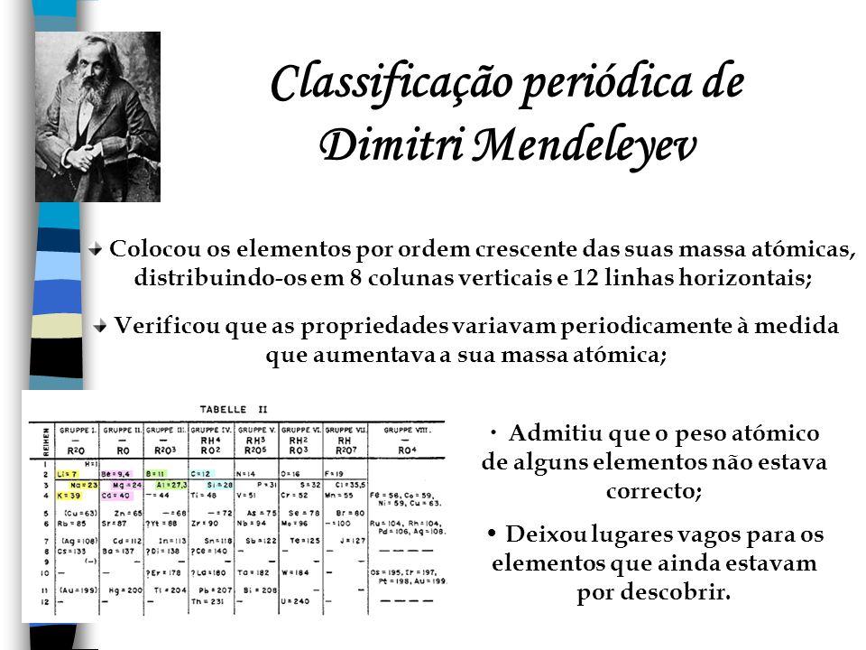 Classificação periódica de Dimitri Mendeleyev Colocou os elementos por ordem crescente das suas massa atómicas, distribuindo-os em 8 colunas verticais