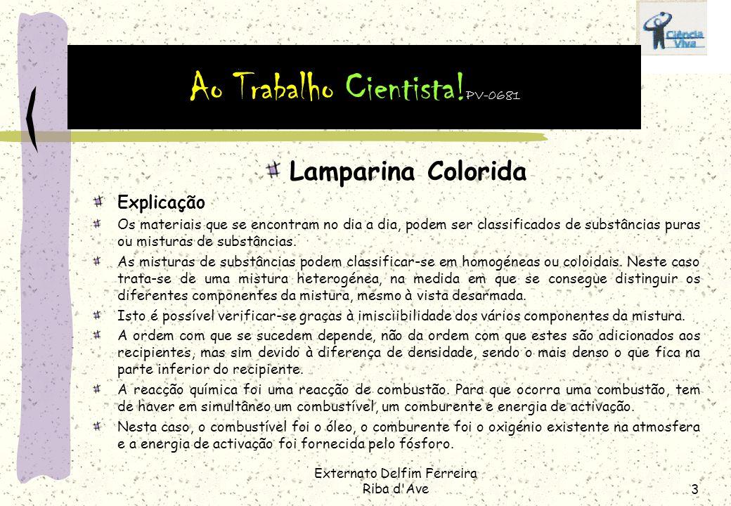 Externato Delfim Ferreira Riba d'Ave2 Lamparina Colorida De que tipo de mistura se trata? Homogénea ou heterogénea? Como explicar a sucessão de camada