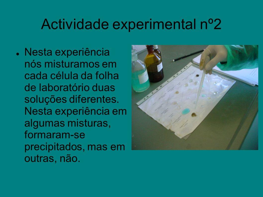Actividade experimental nº2 Nesta experiência nós misturamos em cada célula da folha de laboratório duas soluções diferentes. Nesta experiência em alg