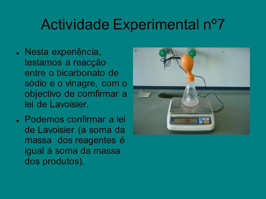 Actividade Experimental nº7 Nesta experiência, testamos a reacção entre o bicarbonato de sódio e o vinagre, com o objectivo de comfirmar a lei de Lavo
