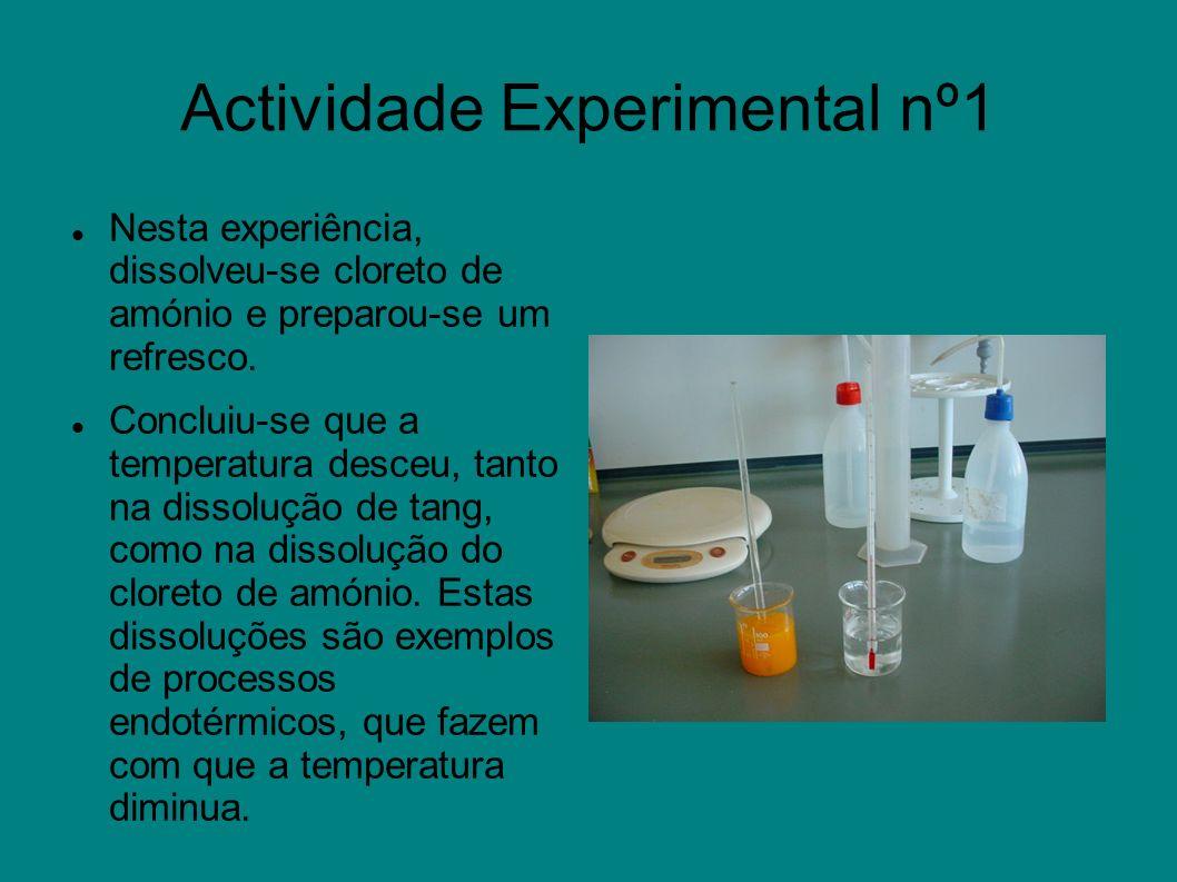 Actividade Experimental nº1 Nesta experiência, dissolveu-se cloreto de amónio e preparou-se um refresco. Concluiu-se que a temperatura desceu, tanto n
