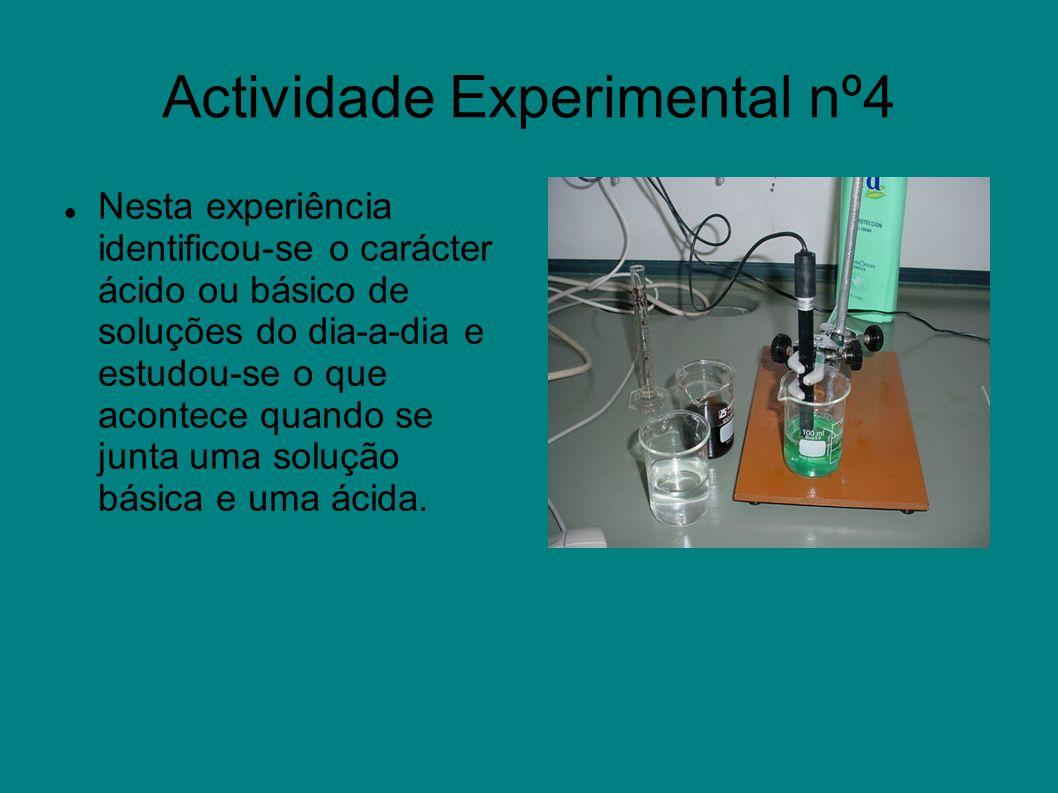Actividade Experimental nº4 Nesta experiência identificou-se o carácter ácido ou básico de soluções do dia-a-dia e estudou-se o que acontece quando se