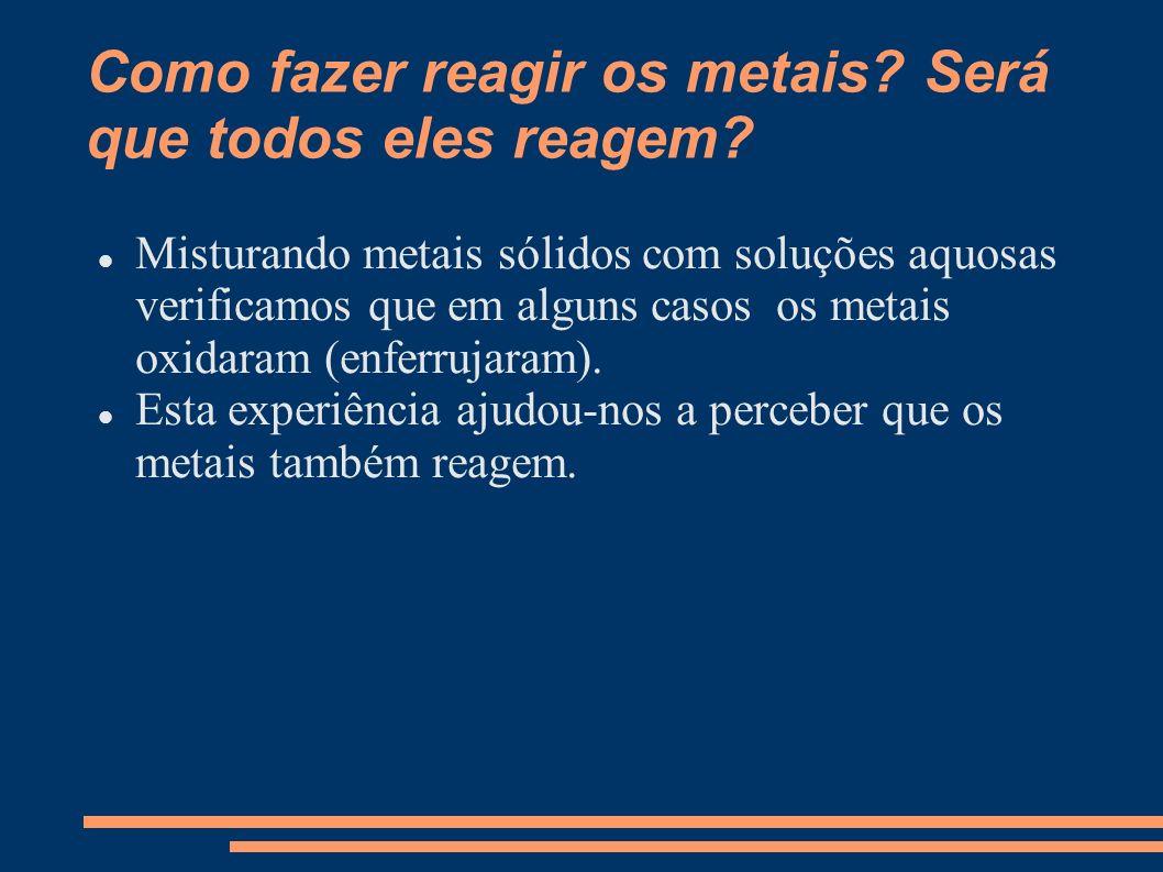 Como fazer reagir os metais? Será que todos eles reagem? Misturando metais sólidos com soluções aquosas verificamos que em alguns casos os metais oxid