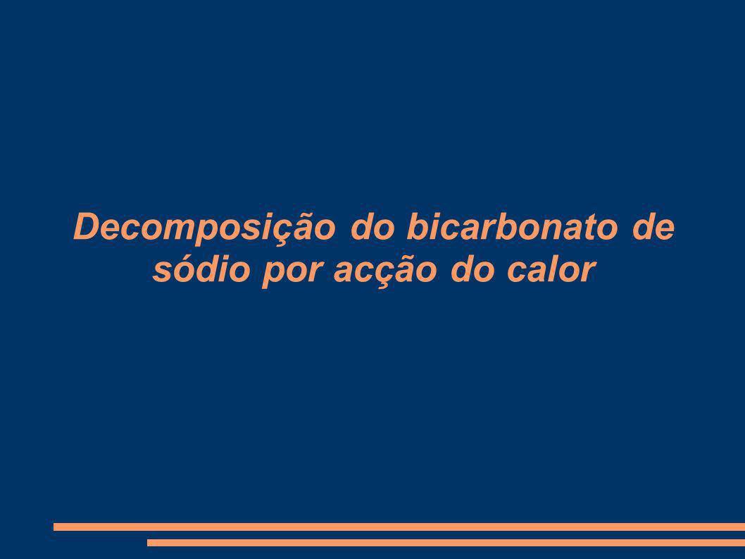 Decomposição do bicarbonato de sódio por acção do calor