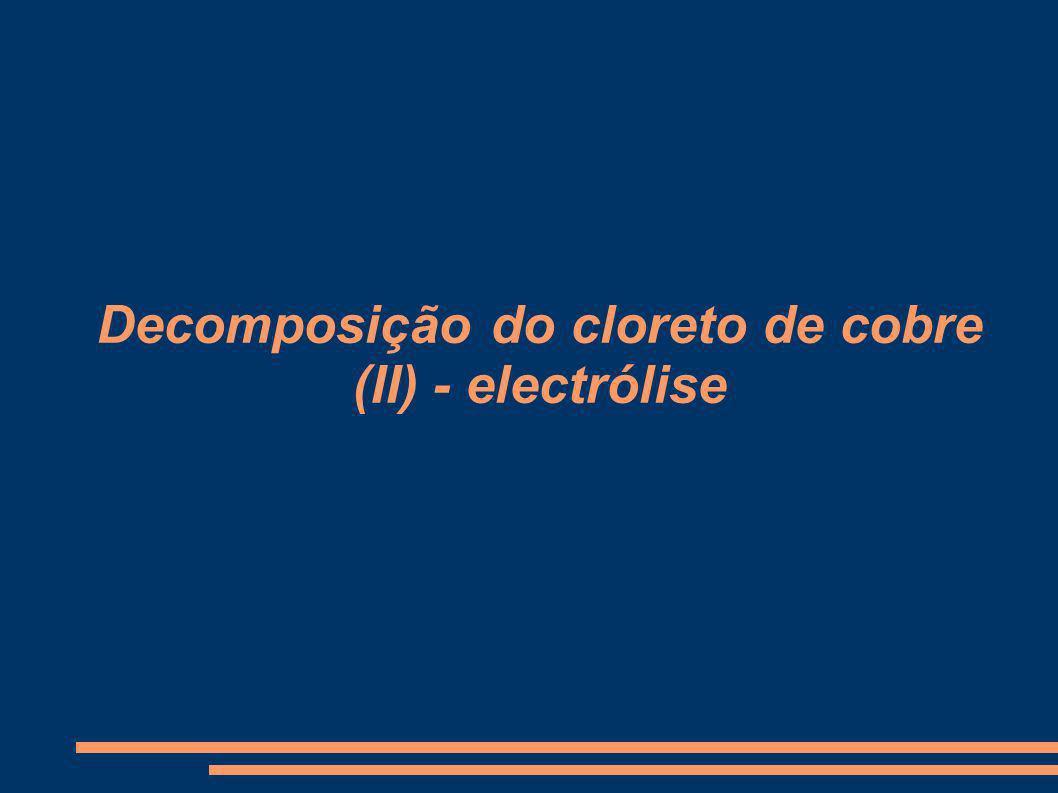 Decomposição do cloreto de cobre (II) - electrólise