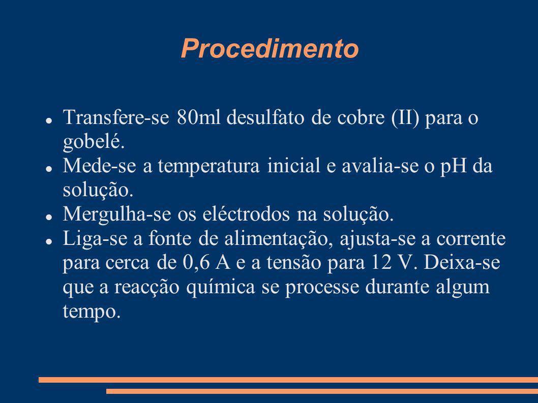 Procedimento Transfere-se 80ml desulfato de cobre (II) para o gobelé. Mede-se a temperatura inicial e avalia-se o pH da solução. Mergulha-se os eléctr