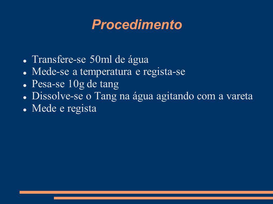 Procedimento Transfere-se 50ml de água Mede-se a temperatura e regista-se Pesa-se 10g de tang Dissolve-se o Tang na água agitando com a vareta Mede e