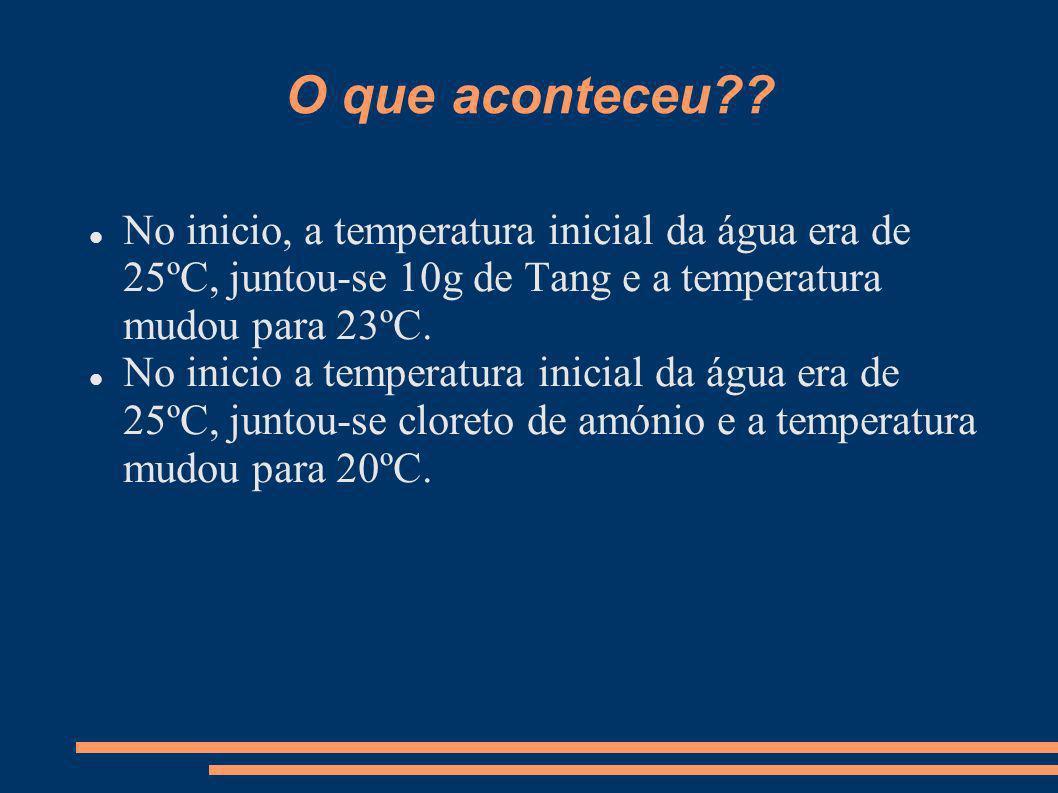 O que aconteceu?? No inicio, a temperatura inicial da água era de 25ºC, juntou-se 10g de Tang e a temperatura mudou para 23ºC. No inicio a temperatura